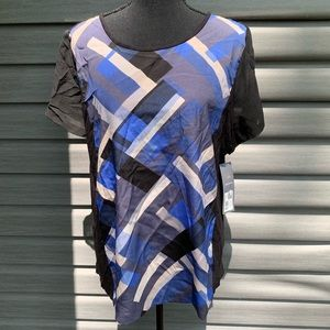 NWT Daisy Fuentes geometric short sleeve blouse xl